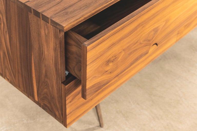 Solid American Walnut Sideboard with Brass Underframe For Sale 1