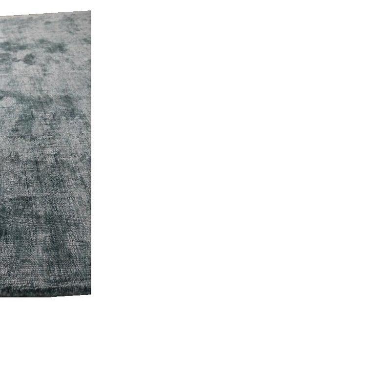 Industrial Solid Aqua Blue Rug, Soft Feel, Subtle Sheen, Tonal Blue Color, Cut Pile For Sale