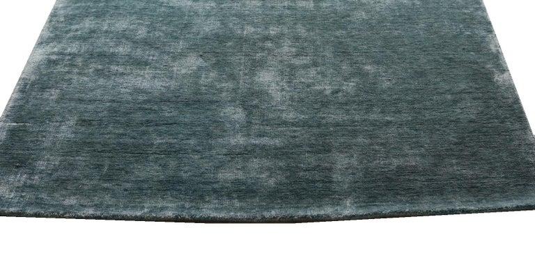 Indian Solid Aqua Blue Rug, Soft Feel, Subtle Sheen, Tonal Blue Color, Cut Pile For Sale