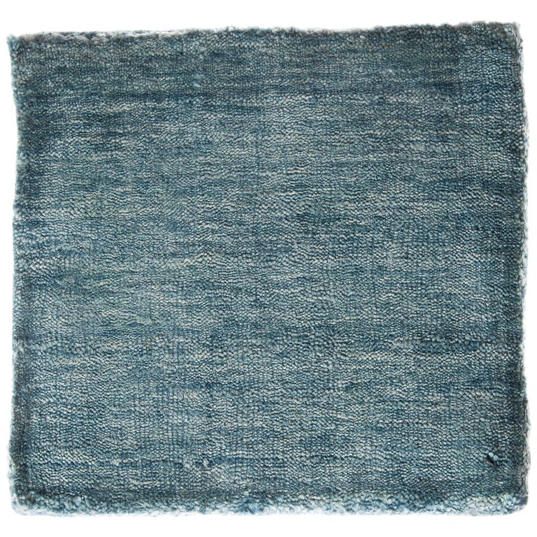 Solid Aqua Blue Rug, Soft Feel, Subtle Sheen, Tonal Blue Color, Cut Pile For Sale
