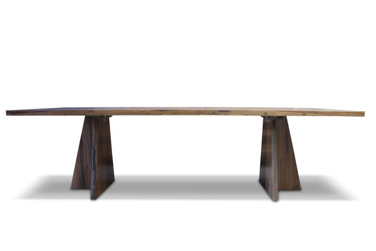 Organic Modern Solid Argentine Rosewood Twin Pedestal Luca Table from Costantini For Sale