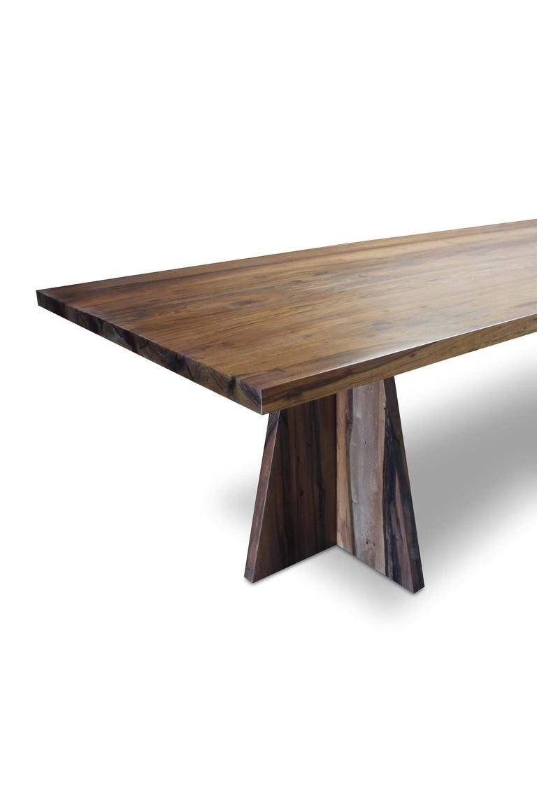 Woodwork Solid Argentine Rosewood Twin Pedestal Luca Table from Costantini For Sale