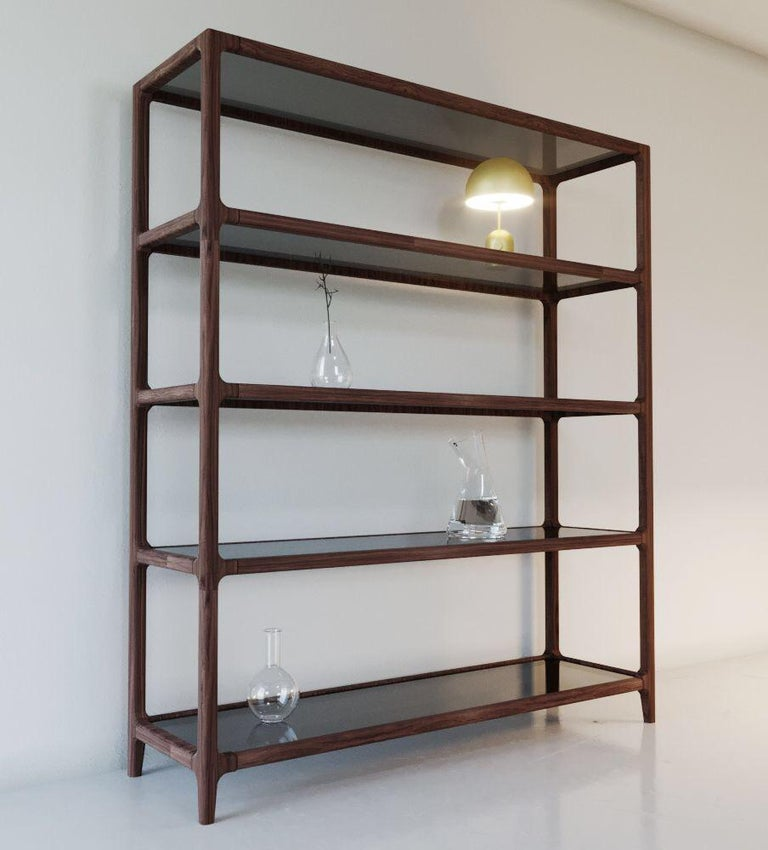 Solid Ashwood Open Bookcase with Smoked Glass Shelves For Sale 5