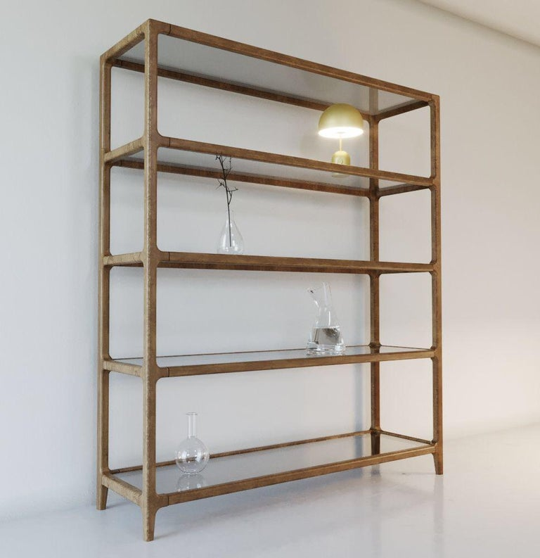 Solid Ashwood Open Bookcase with Smoked Glass Shelves For Sale 6