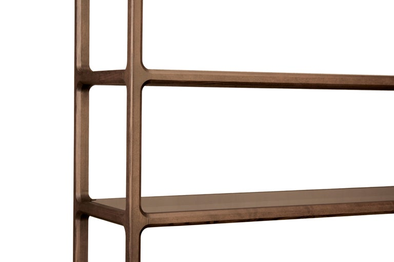 Italian Solid Ashwood Open Bookcase with Smoked Glass Shelves For Sale