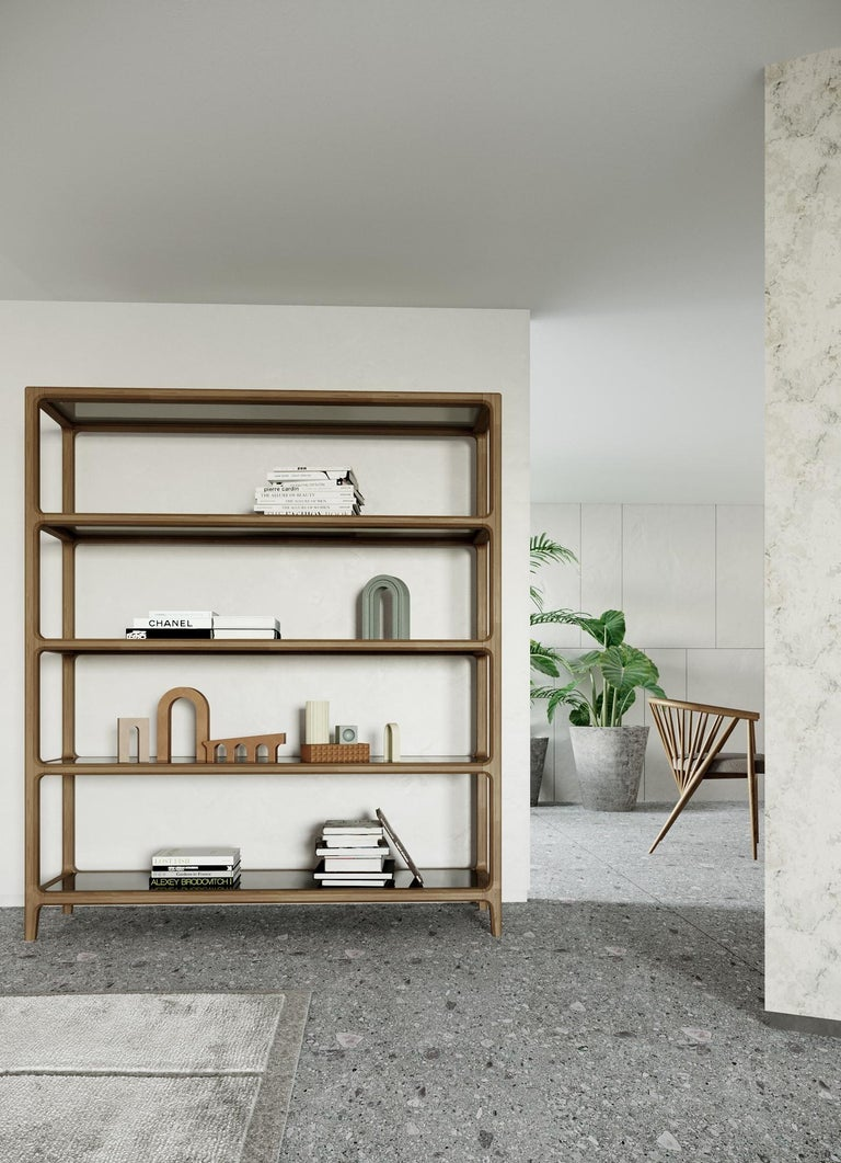 Solid Ashwood Open Bookcase with Smoked Glass Shelves For Sale 2