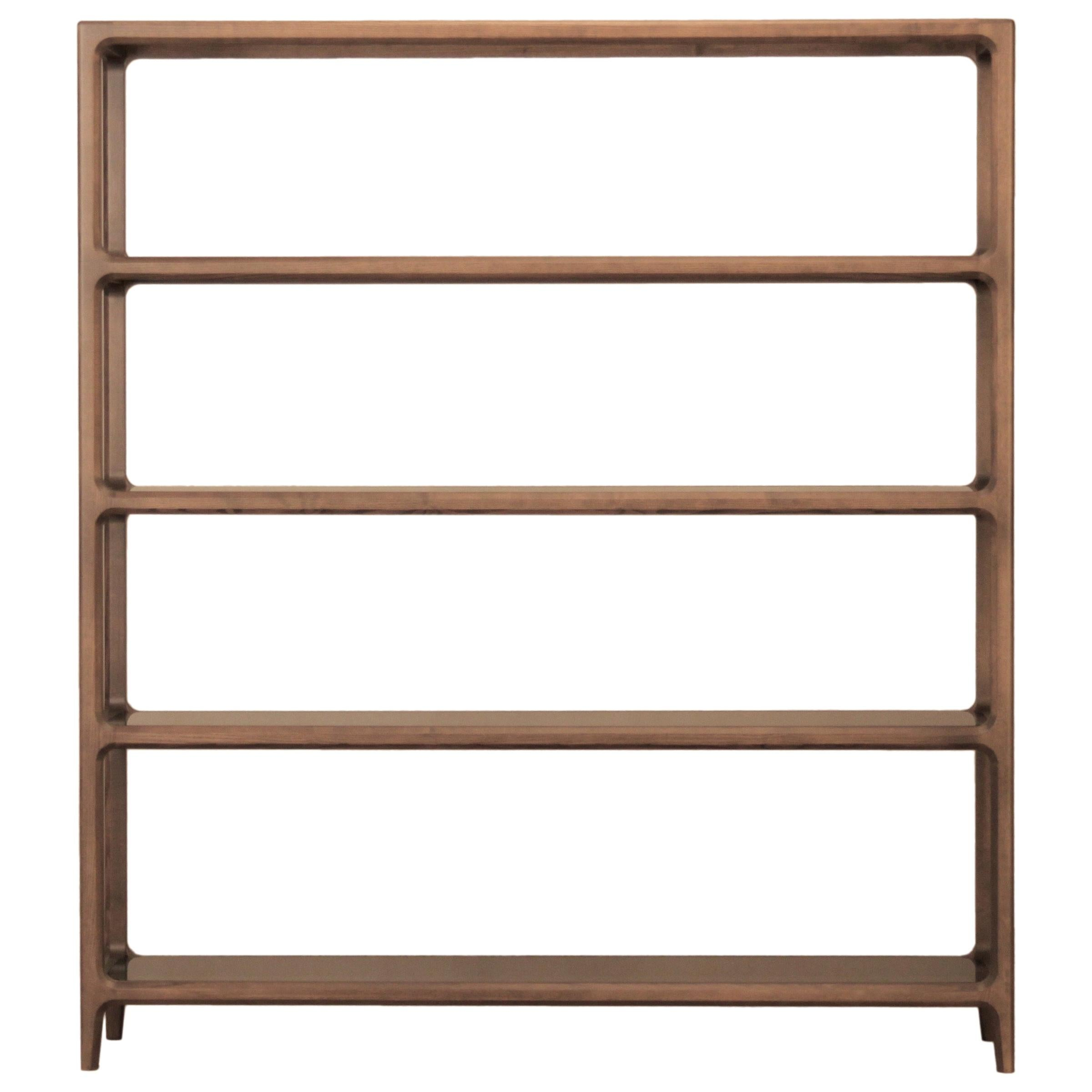 Solid Ashwood Open Bookcase with Smoked Glass Shelves