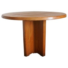 Solid Ashwood Round Dining Table, France, 1970s