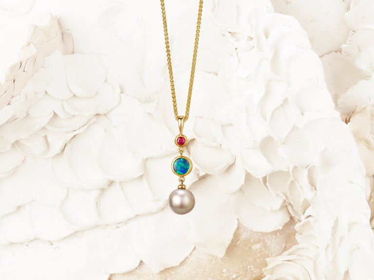 Round Cut Solid Australian Opal, Sea of Cortez Pearl and Ruby 18K Pendant Necklace For Sale