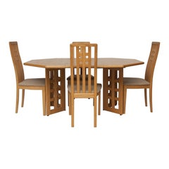 Solid Beech Extendable Dining Table & 4 Chairs, c.1960