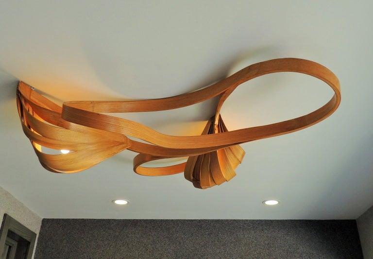 Modern Solid Bentwood Flush Mount Ceiling Light Chandelier by Raka Studio For Sale