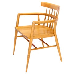Solid Birch Barrel Back Bent Wood Spindle Back Armchair Desk Chair