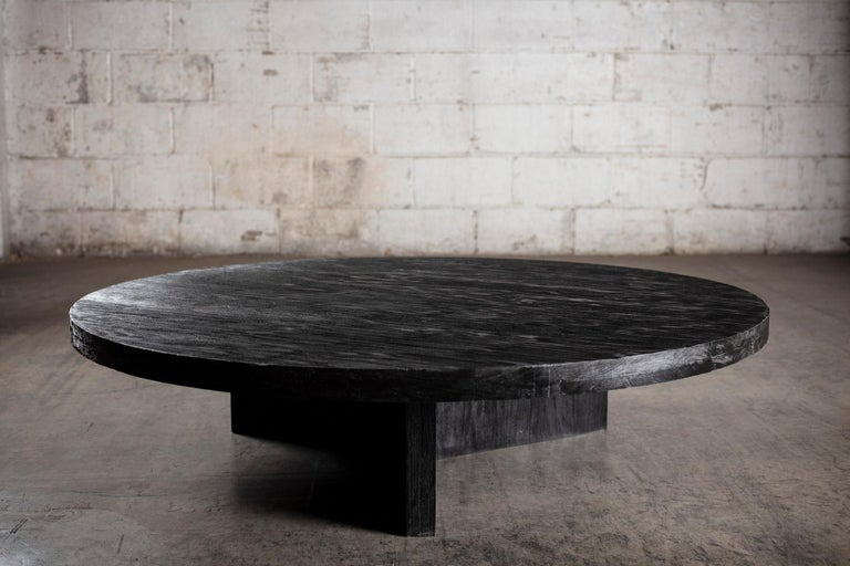 Mexican Solid Black Circular Coffee Table For Sale