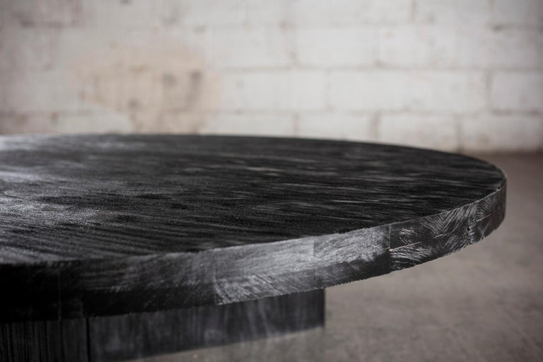 Hand-Crafted Solid Black Circular Coffee Table For Sale