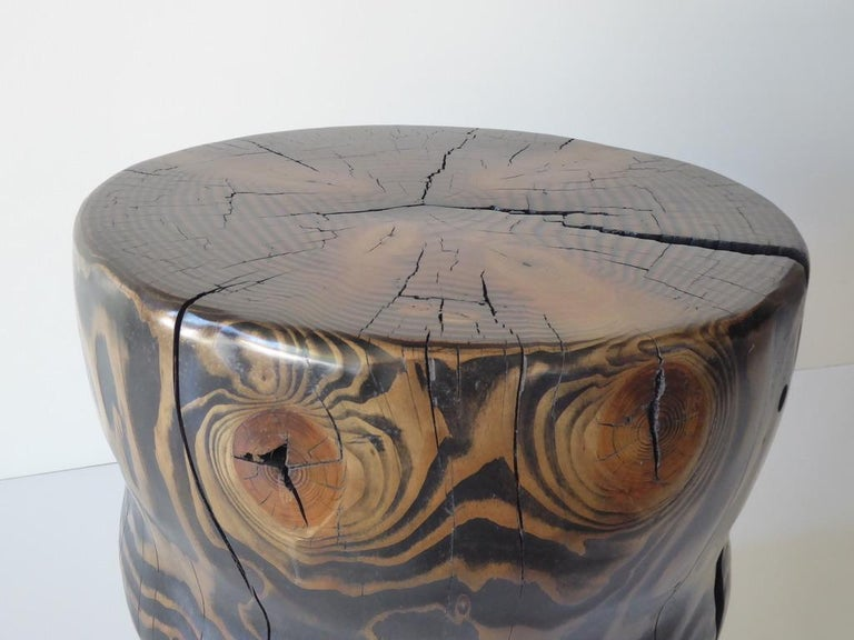 Solid Black Pine Side Table by Contemporary American Artist Daniel Pollock For Sale 5