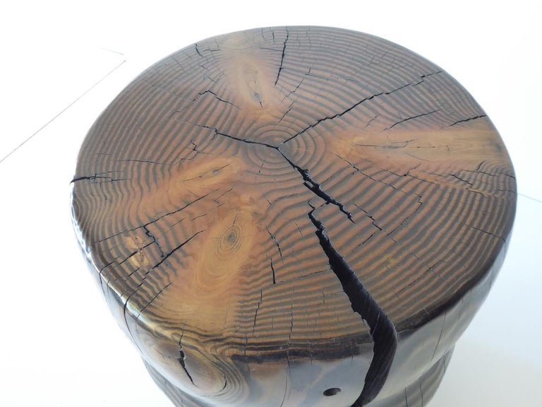 Solid Black Pine Side Table by Contemporary American Artist Daniel Pollock For Sale 7