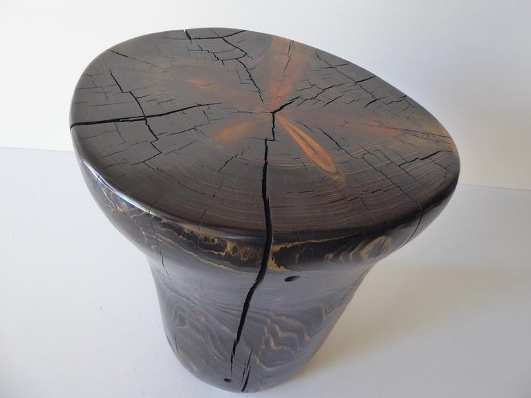 Organic Modern Solid Black Pine Side Table by Contemporary American Artist Daniel Pollock For Sale