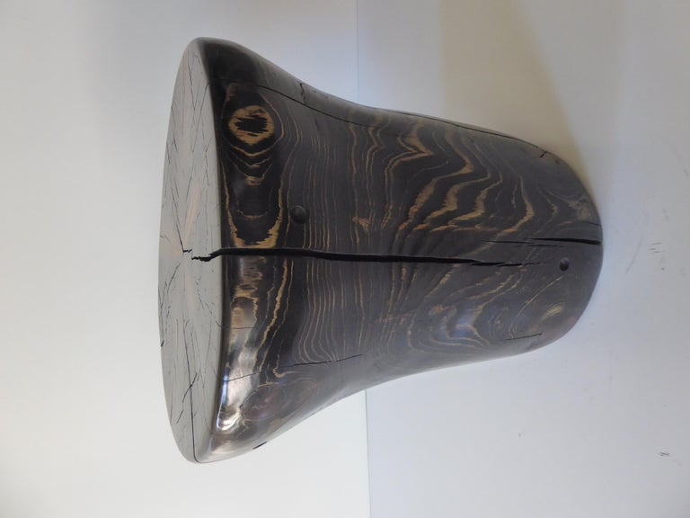 Hand-Carved Solid Black Pine Side Table by Contemporary American Artist Daniel Pollock For Sale