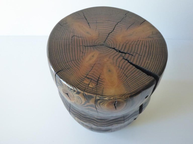 Solid Black Pine Side Table by Contemporary American Artist Daniel Pollock In New Condition For Sale In Palm Springs, CA