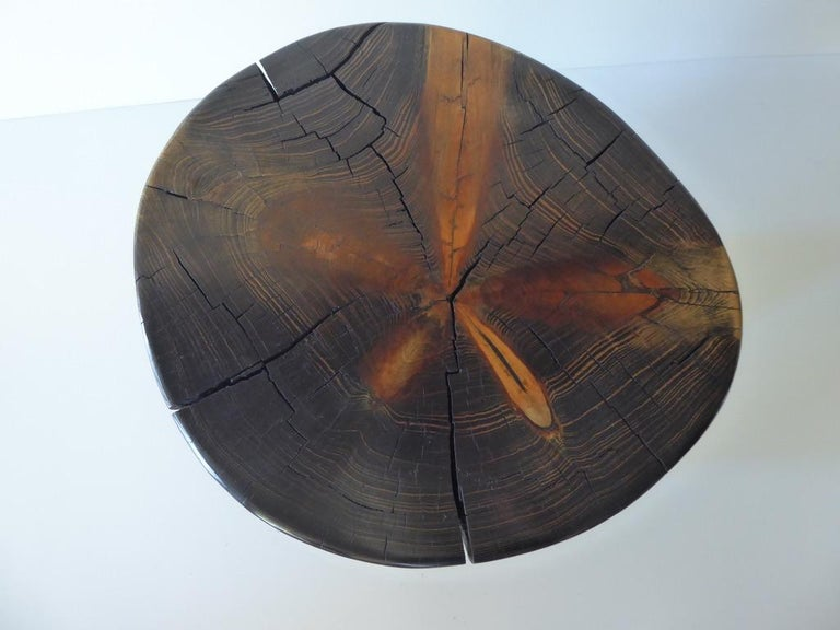 Solid Black Pine Side Table by Contemporary American Artist Daniel Pollock For Sale 1