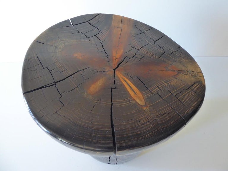 Solid Black Pine Side Table by Contemporary American Artist Daniel Pollock For Sale 2