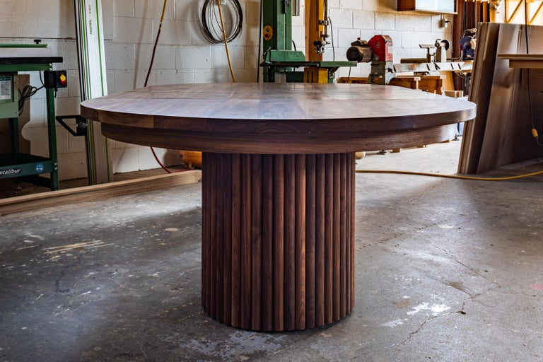 Architecturally Inspired Dining Table with Leaves in Black Walnut by Kate Duncan In New Condition For Sale In Toronto, Ontario