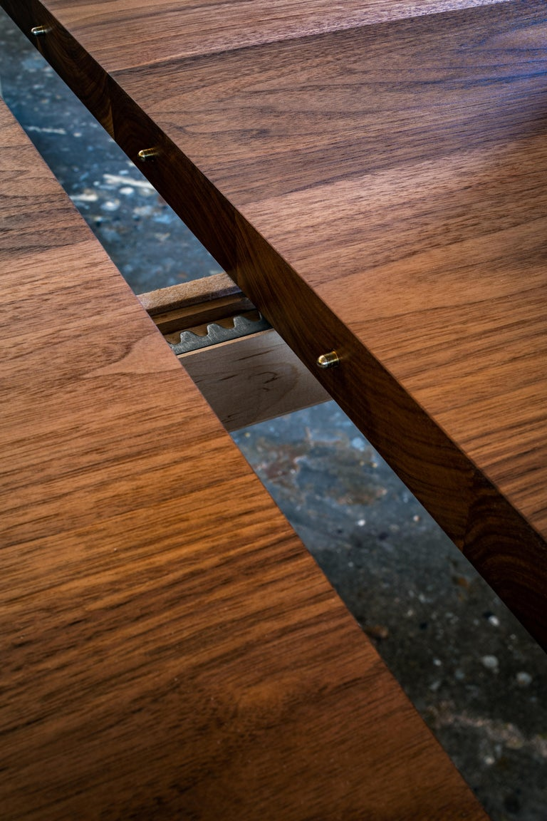 Wood Architecturally Inspired Dining Table with Leaves in Black Walnut by Kate Duncan For Sale