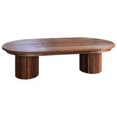 Brutalist Inspired Dining Table with Adjustable Leaves in Walnut by Kate Duncan