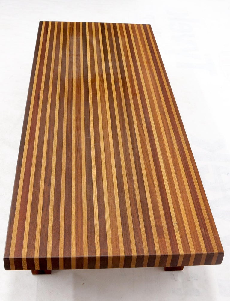 Mid-Century Modern Solid Block Walnut and Oak Rectangular Low Coffee Table For Sale