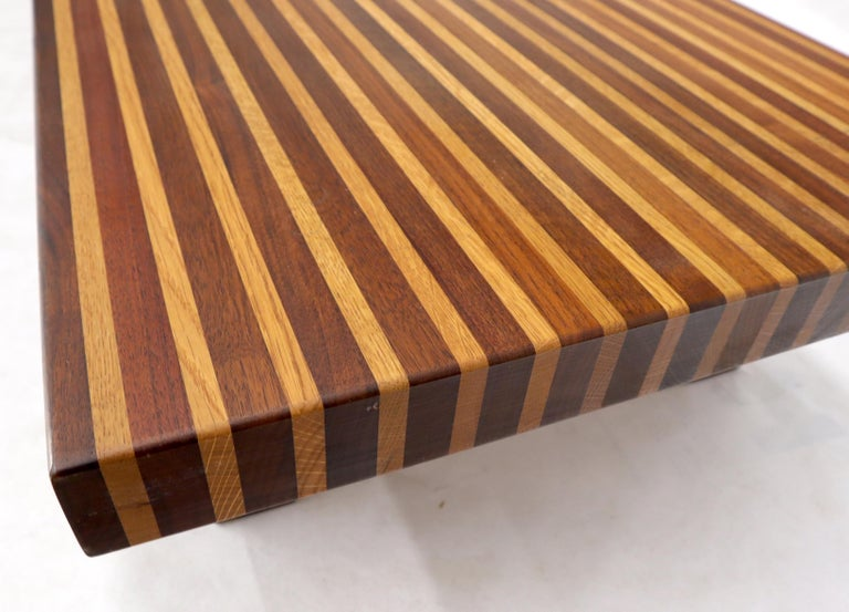 Unknown Solid Block Walnut and Oak Rectangular Low Coffee Table For Sale