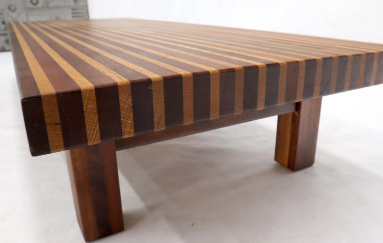 Oiled Solid Block Walnut and Oak Rectangular Low Coffee Table For Sale