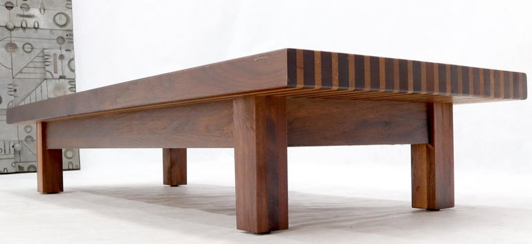 Solid Block Walnut and Oak Rectangular Low Coffee Table In Excellent Condition For Sale In Rockaway, NJ