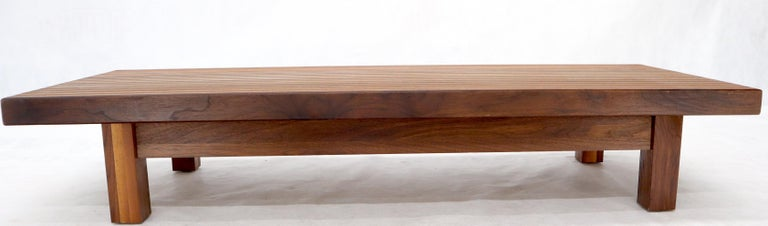 20th Century Solid Block Walnut and Oak Rectangular Low Coffee Table For Sale