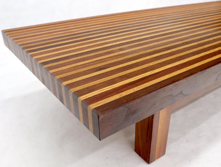 Solid Block Walnut and Oak Rectangular Low Coffee Table For Sale 1