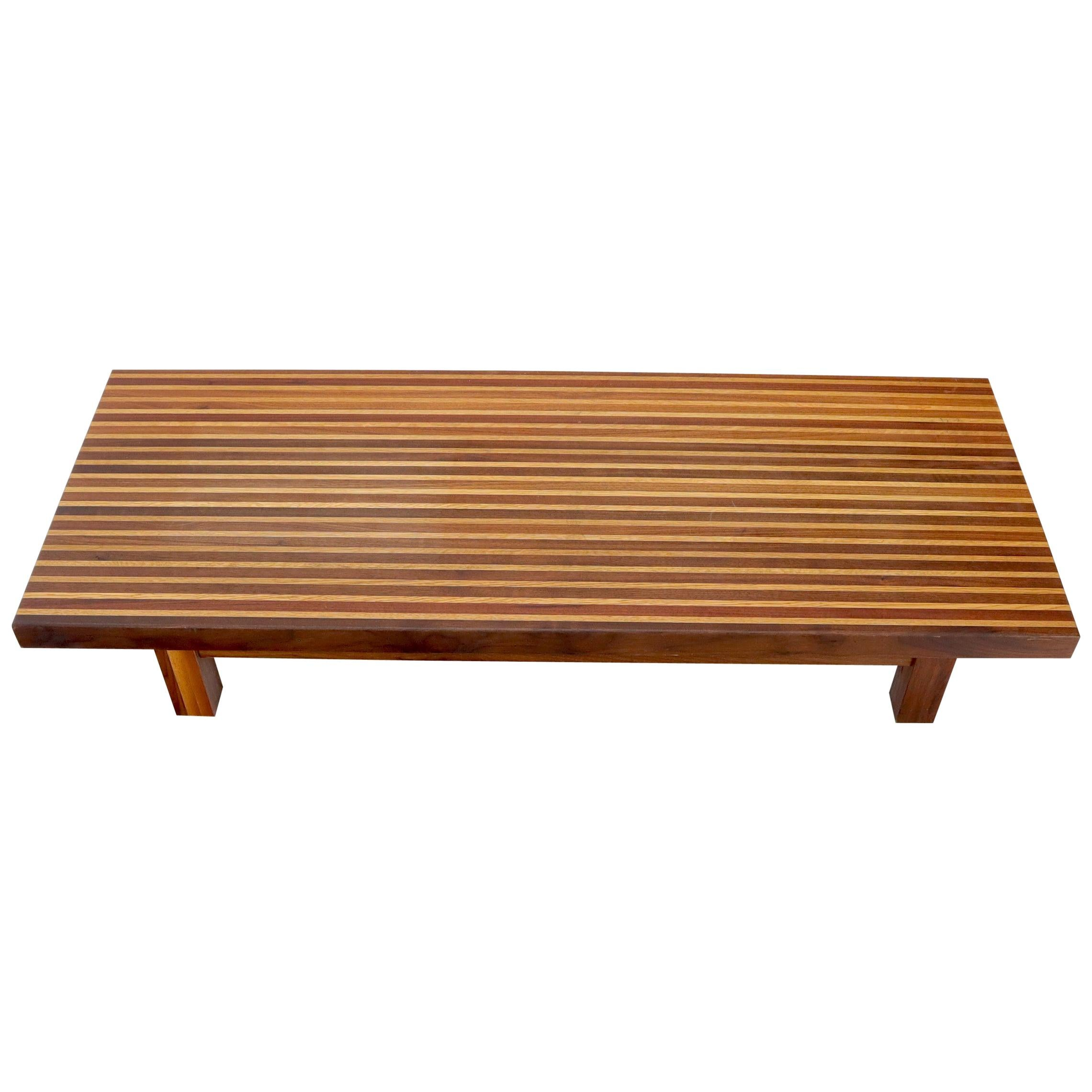 Solid Block Walnut and Oak Rectangular Low Coffee Table