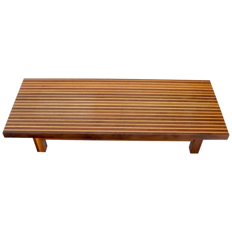Solid Block Walnut and Oak Rectangular Low Coffee Table For Sale