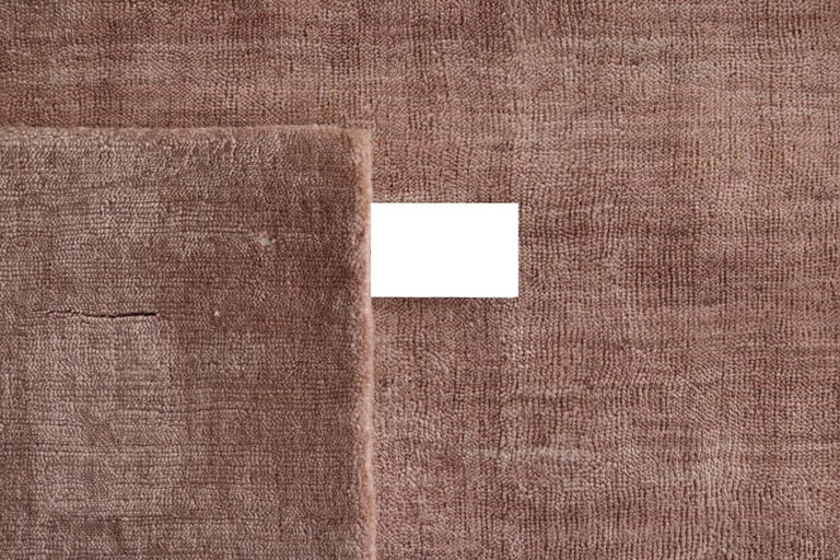 Hand-Crafted Modern Blush Rose Color Made in Bamboo Silk Rug Hand-Loomed with a Soft Feel For Sale