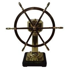 Solid Bras Ships Wheel on Pedestal