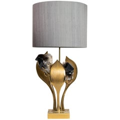 Solid Brass and Gilt Bronze Table Lamp by Willy Daro