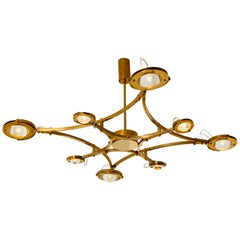 "Solid Brass and Glass Flush Mount Chandelier ""Jewel"""