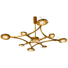 """Solid Brass and Glass Flush Mount Chandelier """"Jewel"""""""
