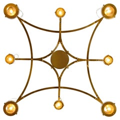 """Solid Brass and Glass Flush Mount XL Chandelier """"Jewel"""""""