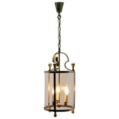 Solid Brass and Glass Lantern or Pendant Lamp