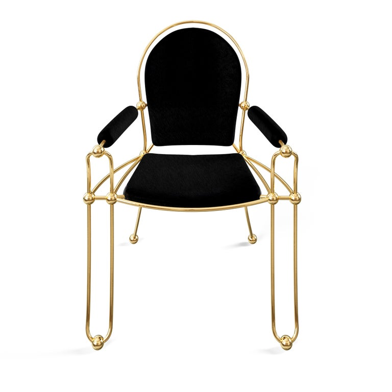 Portuguese Brass Dining Chair With Black Leather Upholstery For Sale
