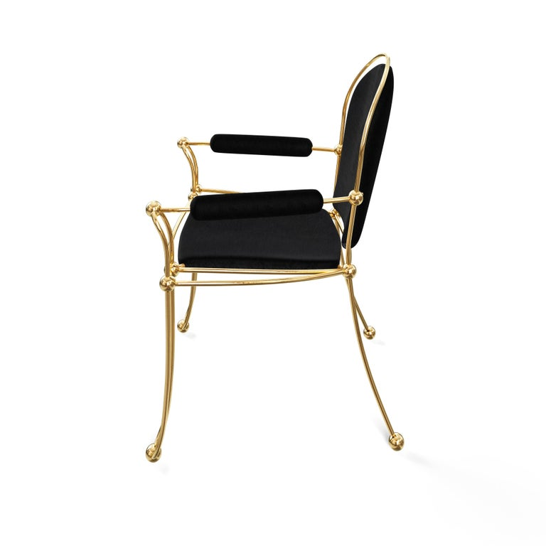 Polished Brass Dining Chair With Black Leather Upholstery For Sale