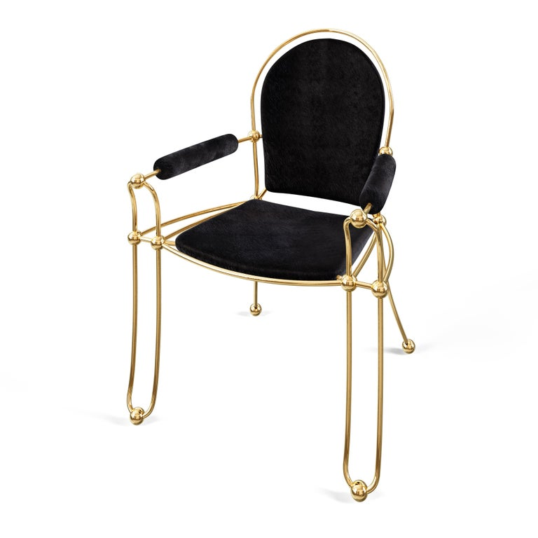 Brass Dining Chair With Black Leather Upholstery In New Condition For Sale In Toronto, Ontario