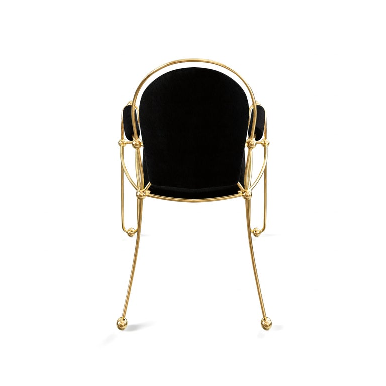 Hide Brass Dining Chair With Black Leather Upholstery For Sale