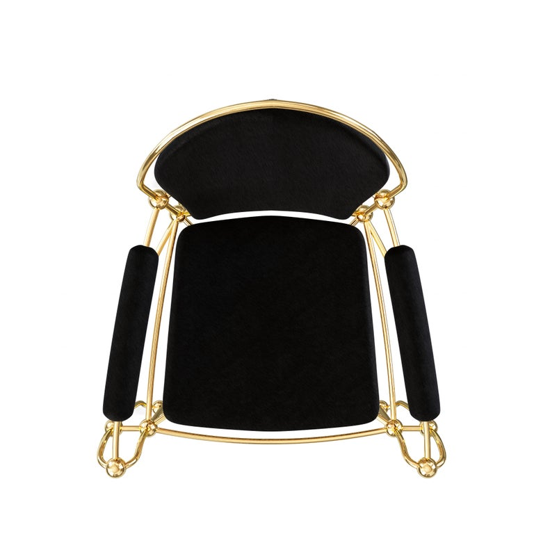 Brass Dining Chair With Black Leather Upholstery For Sale 1