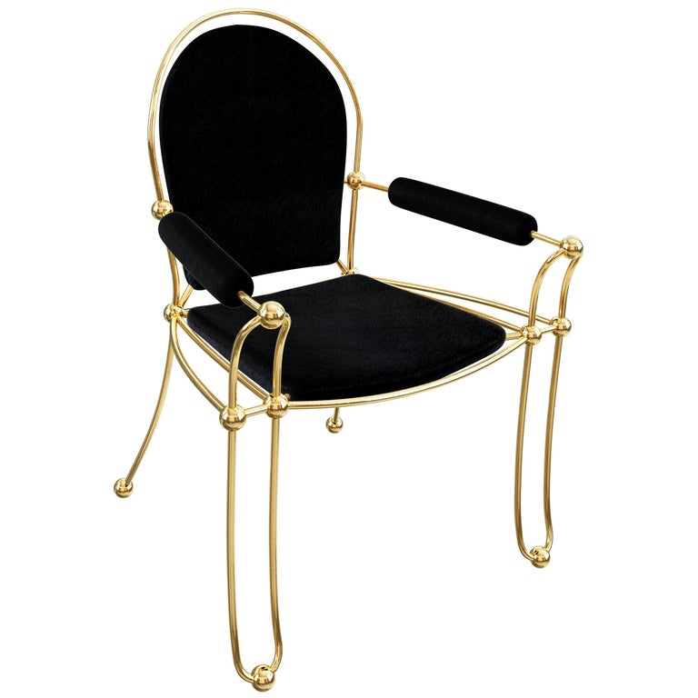 Brass Dining Chair With Black Leather Upholstery For Sale