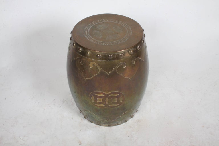Hong Kong Solid Brass Asian Drum Side Table or Stool  For Sale